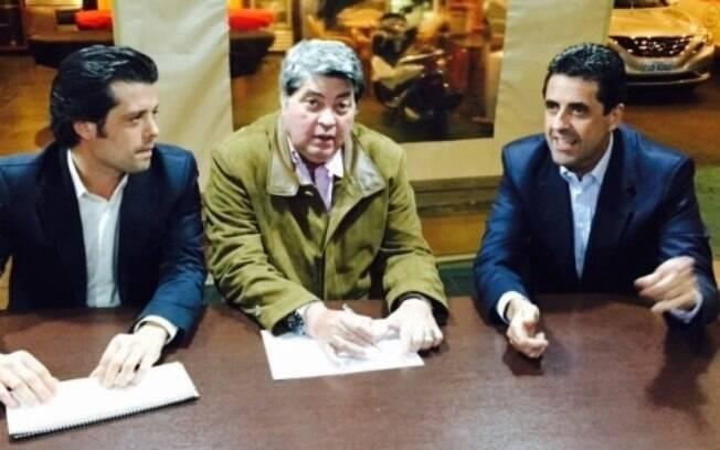 Mussi, Datena e o deputado estadual Olim no encontro que oficializou pré-candidatura, em julho