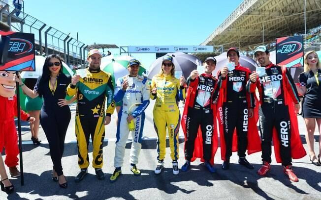 Os vencedores do Fan Push da Stock Car: Fraga, Serra, Bia, Di Grassi, Baptista e Di Mauro