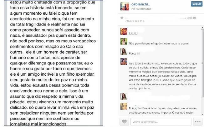 Carolina Bianchi publicou desabafo no Instagram