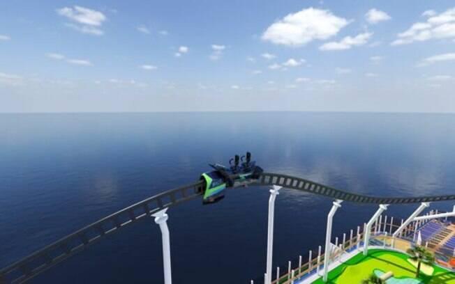 A montanha-russa promete agradar a todos os viajantes do navio. Teria coragem de embarcar nesta aventura em alto-mar?