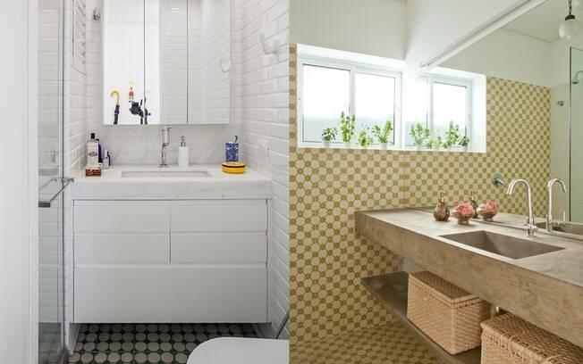 O ladrilho hidráulico traz opções lindas e leves para o revestimento do banheiro. É uma bela aposta!