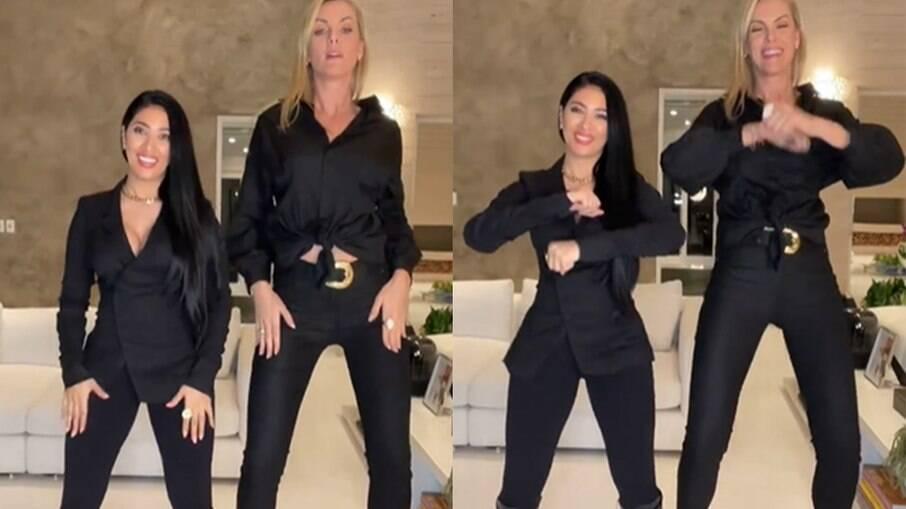 Ana Hickmann e Simaria fazem coreografia juntas