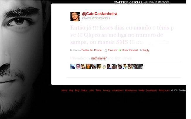 Caio Castro divulga número de seu celular no Twitter