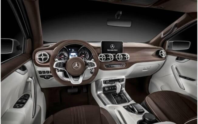 O interior da Mercedes-Benz Classe X seguirá o mesmo estilo dos outros carros da marca, com saídas de ar em cruz.