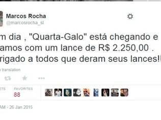 Marcos Rocha celebrou o lance que passa de R$ 2 mil por meio de seu perfil no Twitter