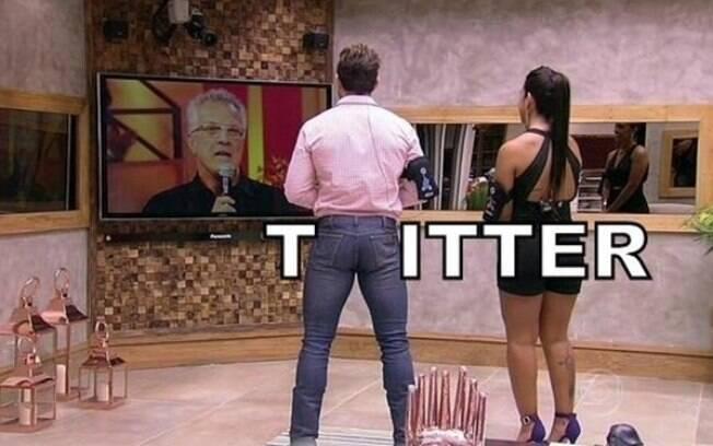 Calça justa do campeão Cézar foi alvo de memes na final do 'BBB 15'. Foto: Reprodução/Twitter