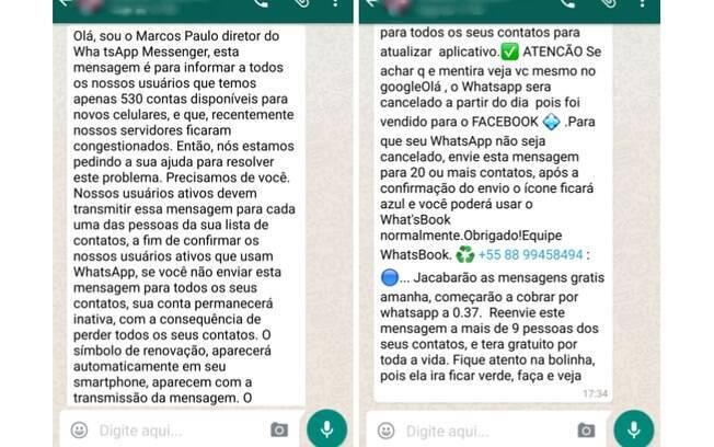 Mensagem falsa no WhatsApp pede que usuários mandem SMS para seus contatos e garantam o acesso ao app