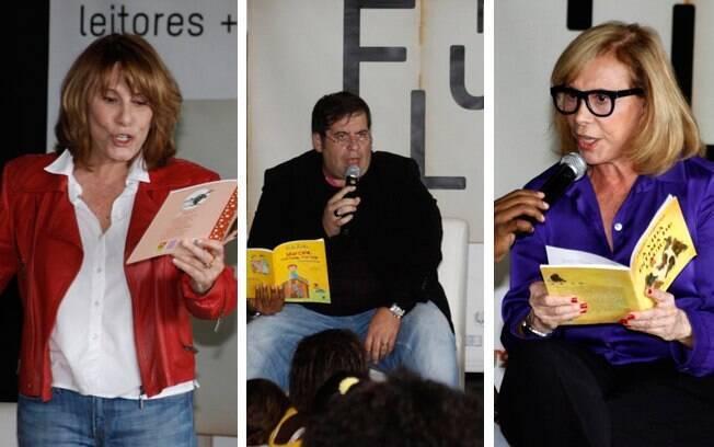 Renata Sorrah, Leandro Hassun e Arlete Salles lêem para as crianças no morro do Cantagalo
