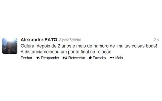 Alexandre Pato termina com Barbara Berlusconi e avisa seguidores no Twitter