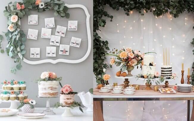 Na parede que fica atrás da mesa principal, você pode usar fotos do casal, imagens do ultrassom ou até mesmo luzes