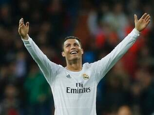 Real's Cristiano Ronaldo celebrates his second goal during a Spanish La Liga soccer match between Real Madrid and Osasuna at the Santiago Bernabeu stadium in Madrid, Spain, Saturday, April 26, 2014. (AP Photo/Andres Kudacki)