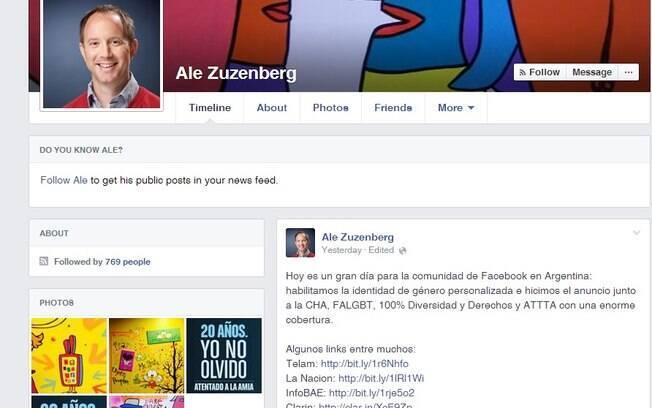 Perfil de Alejandro Zuzenberg no Face e a comemoração: