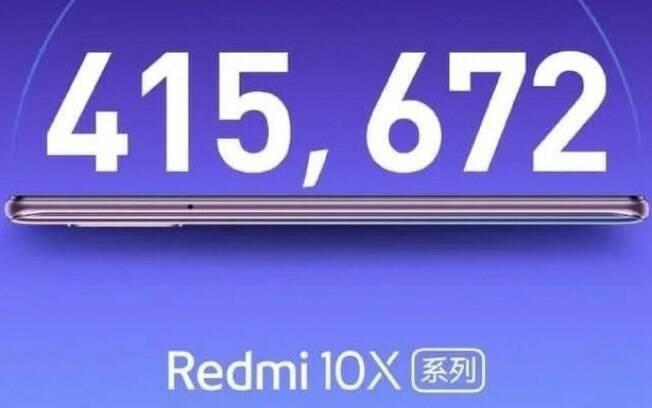 Anúncio do Redmi 10X na rede social Weibo mostra sua pontuação no ranking do Antutu