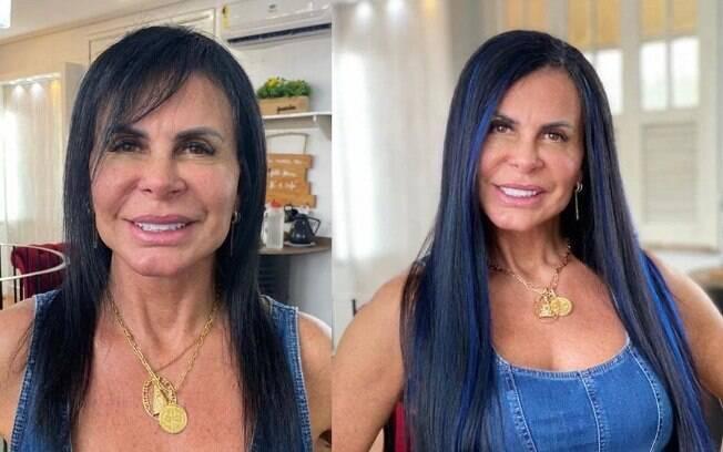 Gretchen com cabelo azul