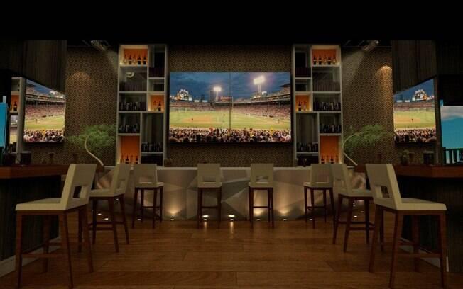 Tons amadeirados preenchem o bar criado pela arquiteta Mayra Lopes para a Casa Cor SP