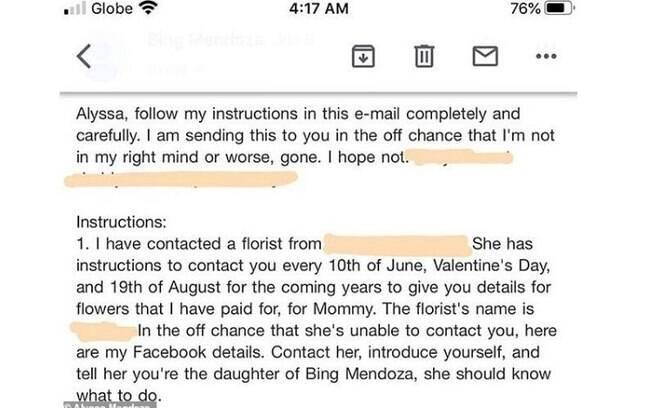 Email póstumo que Alyssa Mendonza recebeu de seu pai