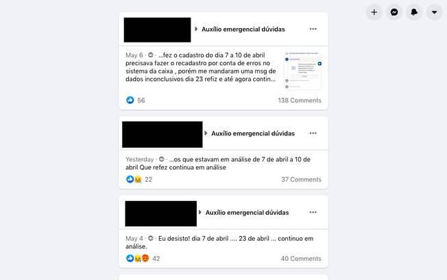 No grupo de Facebook, candidatos ao auxílio que se cadastraram no dia 7 de abril e tiveram de refazer o processo reclamam de ainda não terem conseguido o benefício
