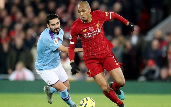 Fabinho fez o primeiro do Liverpool na partida contra o City