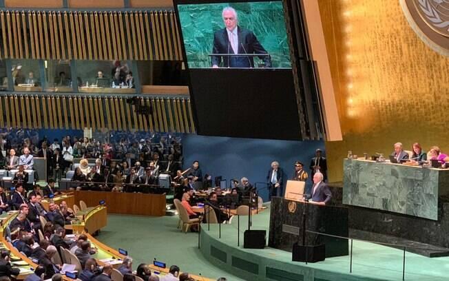 Discurso de Temer durante a abertura da 73ª Assembleia Geral da ONU, última edição que contará com a sua participação