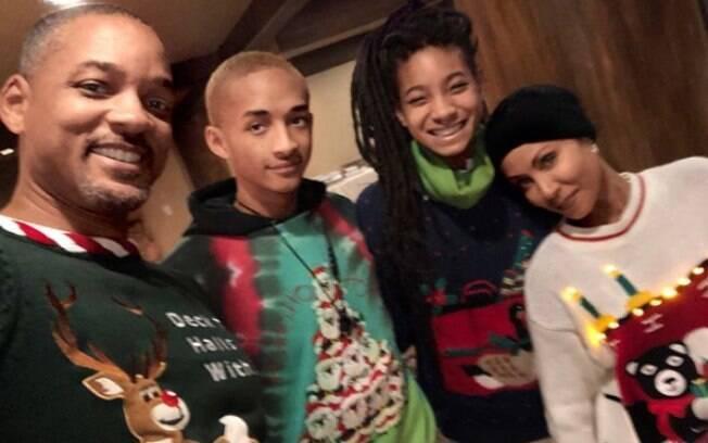 Will Smith com os filhos Willow e Jaden e a esposa Jada
