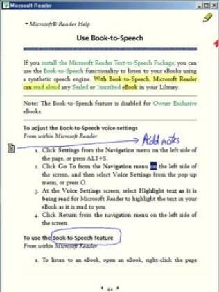 Aplicativo para ler livros digitais, Reader permitia adicionar notas e grifar texto