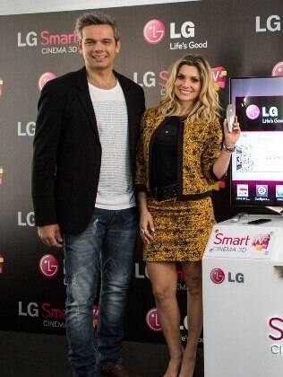 Flávia Alessandra no evento da LG nesta segunda-feira