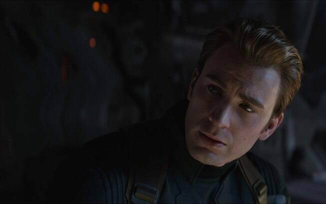 Chris Evans como o Capitão América em cena de Vingadores: Ultimato