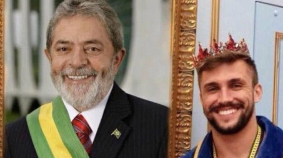 Montagem feita com Arthur ao lado de quadro do presidente Lula