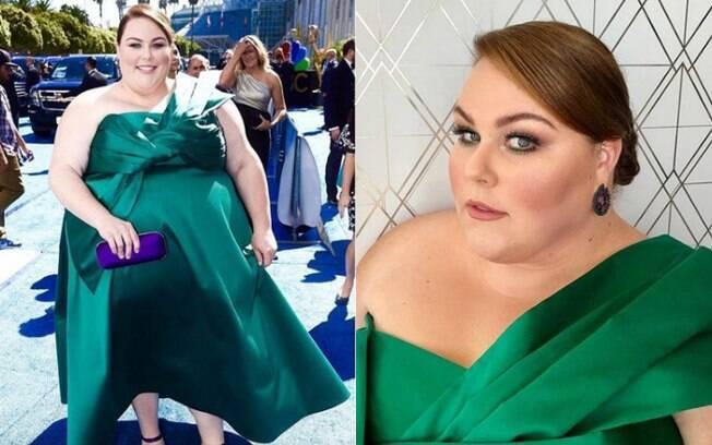 Looks das famosas: Chrissy Metz apostou no 'color block' para tornar o vestido verde esmeralda digno de uma premiação