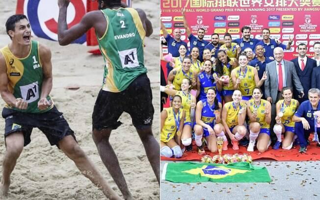 Festa no Mundial de vôlei de praia e no Grand Prix para o Brasil
