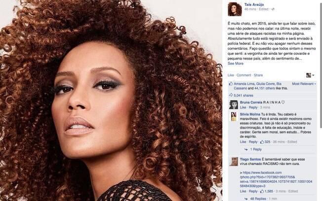 Taís Araújo usou o Facebook para desabafar sobre os ataques racistas que sofreu na rede