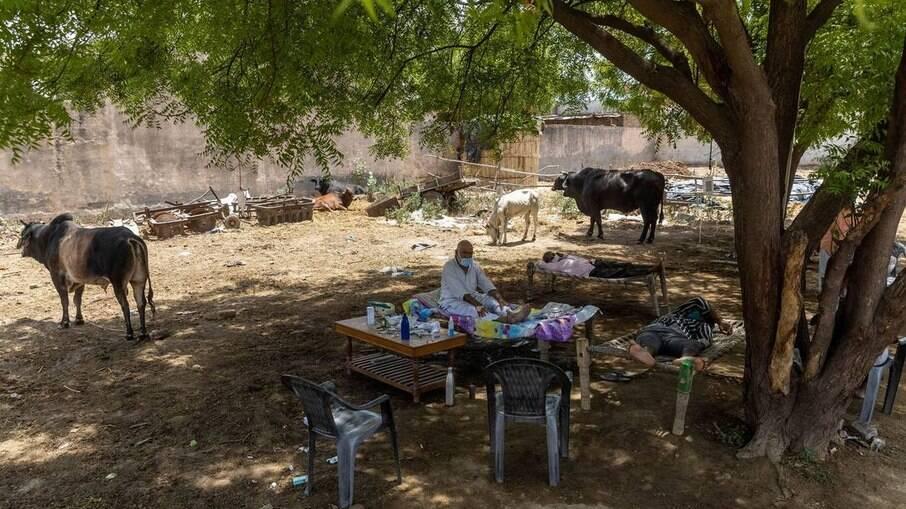 Clínica improvizada para pacientes com Covid-19 no vilarejo Mewla Gopalgarh, no estado de Uttar Pradesh, na Índia