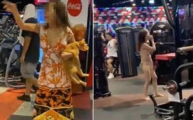 Identificada como Chien, mulher tirou a roupa após ser advertida por levar gato para academia