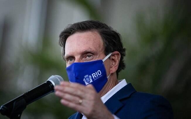 O prefeito Marcelo Crivella durante coletiva de imprensa