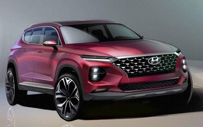Hyundai Santa Fe: nova geração terá esportividade reforçada pelo desenho arrojado que inclui faróis estreitos