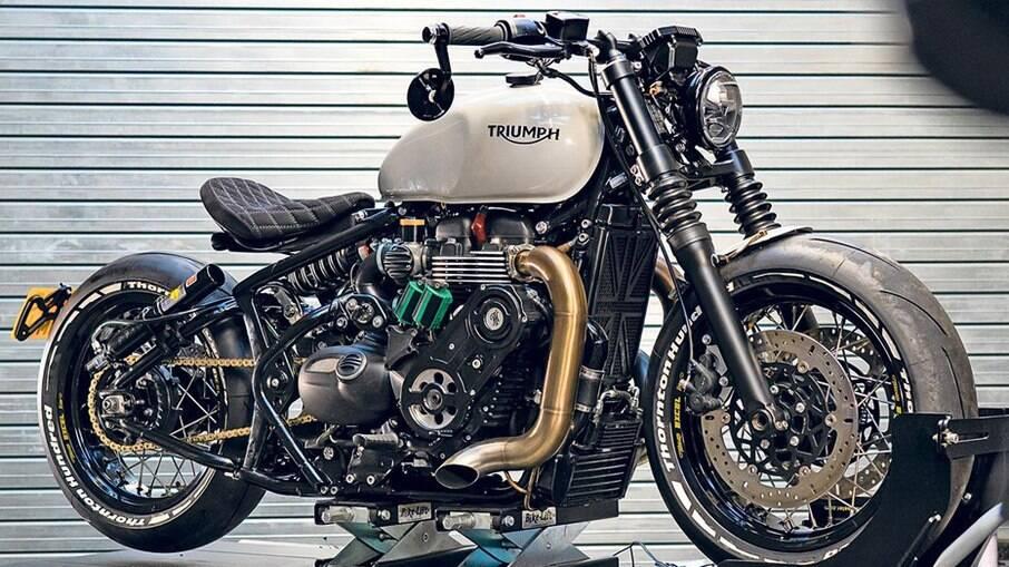 Triumph Bobber WFB rende 204 cv de potência, com adição de NOS, óxido nitroso