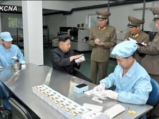 Kim Jong Un em visita à fábrica do Arirang