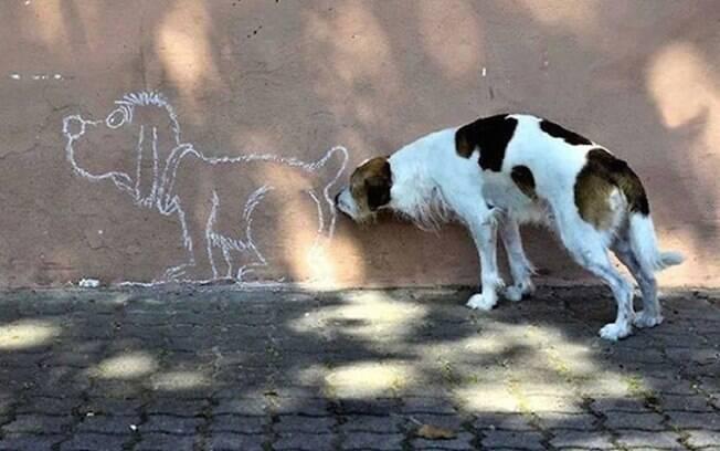 Cachorro cheira o bumbum de outro cachorro desenhado no muro