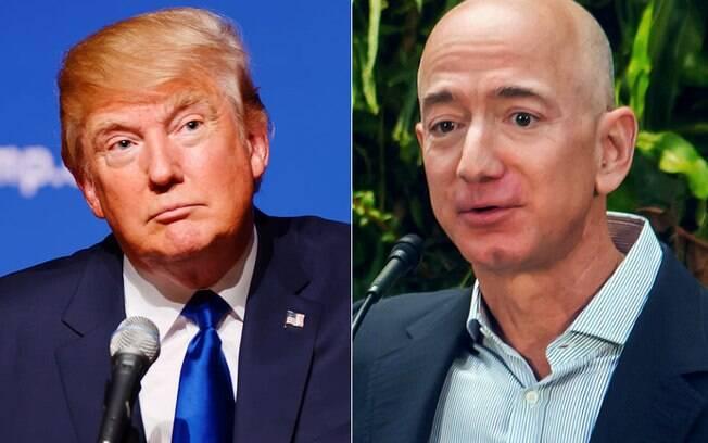 Donald Trump e Jeff Bezos são publicamente pouco amistosos entre si; CEO da Amazon diz ser vítima de extorsão