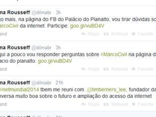 A presidente está respondendo perguntas de internautas sobre o Marco Civil da Internet, sancionado nessa quarta-feira (23).