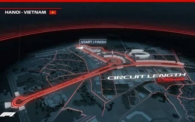 Esboço de como será o circuito de 5.565 metros para o GP do Vietnã de Fórmula 1