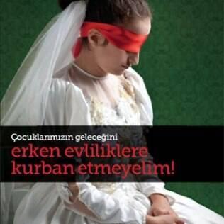 Medo e submissão: cartaz da campanha contra o casamento de meninas na Turquia