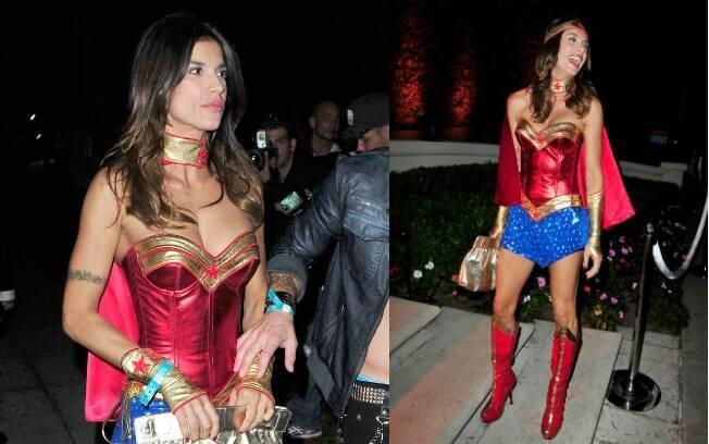 A apresentadora Elisabetta Canalis, ex-namorada de George Clooney, esteve na mesma festa vestida de Mulher Maravilha