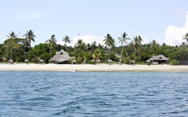 O charmoso Mafia Island Lodge, localizado do parque marinho da ilha
