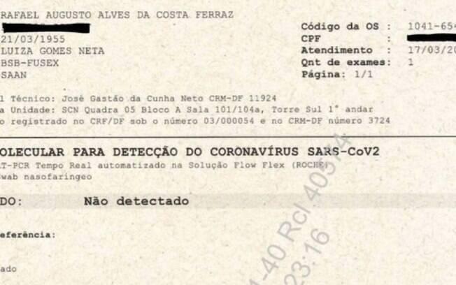 Segundo exame entregue ao Supremo Tribunal Federal, em processo sobre testagem de Jair Bolsonaro