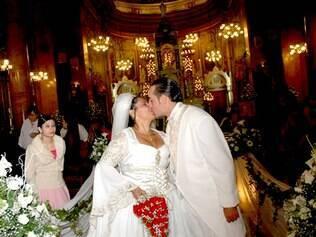 Jovanka e Rodrigo no casamento...