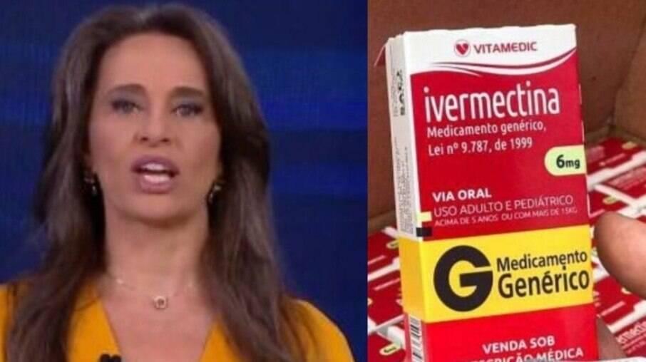 Carla Vilhena e caixa de medicamento