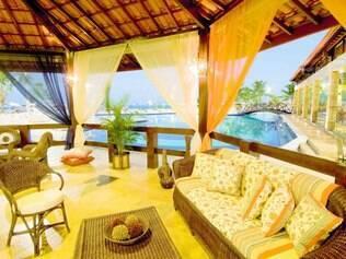Para relaxar.Requintado, lounge do Mussulo é uma das áreas preferidas pelos hóspedes
