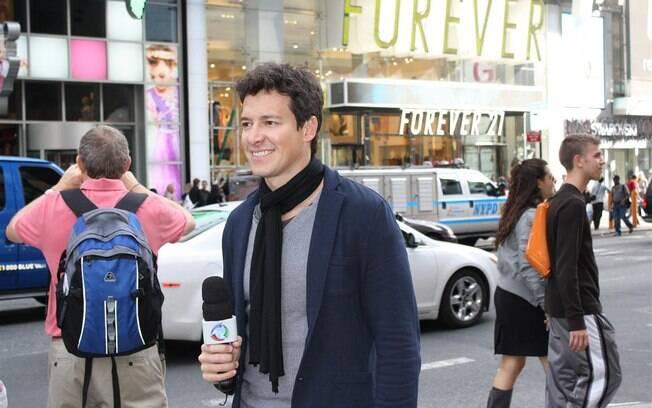 Rodrigo Faro gravando na Times Square, Nova York