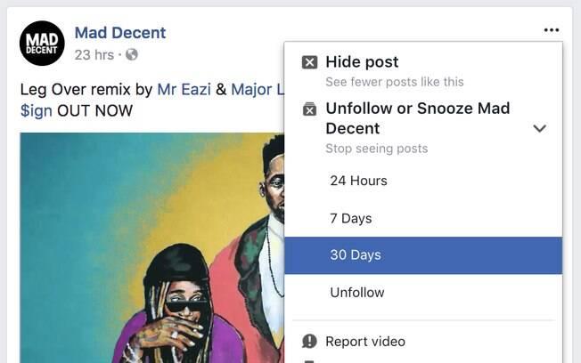 Snooze permite silenciar publicações de amigos, páginas ou grupos no Facebook por até um mês